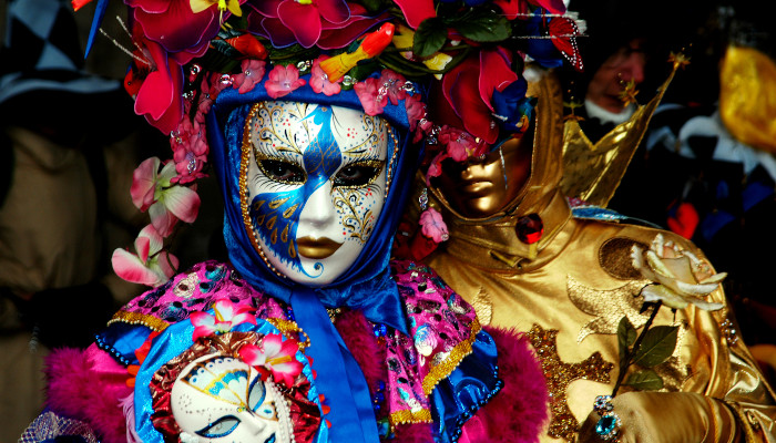 venetian masks during carnival in Italy.
